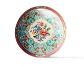 Large Metal Tray | Daher | Decorative | Pink | Blue | Turquoise | Gold | Vintage | Serving