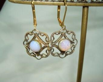 Vintage Fiery Opal Like Earrings.