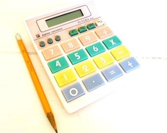 Vintage Futura Calculator Pastel Colors, Model 808 BigKeys, 1980's Office, Works