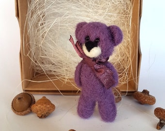 Needle felted animal, Felt Bear Brooch, Wool animal pin, Purple Wool Jewelry, Kids Brooch, Tiny Teddy bear