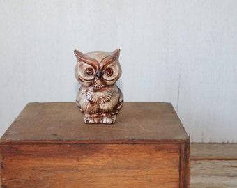 Vintage Handpainted Ceramic Owl Figurine