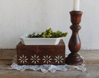 Vintage Wood & Brass Candle Stick
