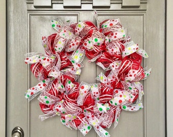 Christmas wreath, wreath, red deco mesh wreath, red christmas wreath, polka dot wreath, whimsical wreath, peppermint wreath, holiday wreath
