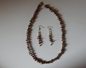 Homemaded Tigereye Necklace & Earrings