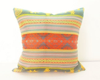 Gray pillow cover, Tribal Pillows 20 Inch cover Aztec Mexican Ethnic Throw Striped Serape pillow with orange green accent colors Mexico