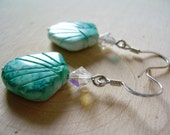 Seafoam Shell Earrings ~ Natural Shell, Teal, Turquoise, Carved Shell, Beach, Beach Wedding, Gift for Her