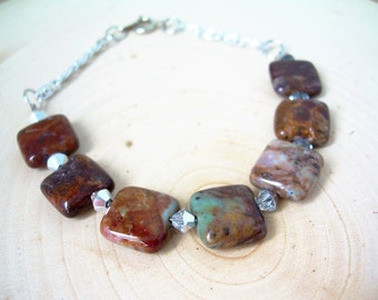 Stunning Natural Rainbow Agate Bracelet ~ Natural Stone, Crystal, Modern, Boho, Gift for Her