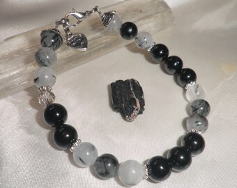 POWERFUL PROTECTION Intention-Bracelet with Black Tourmaline and Tourmalined Quartz-Choose 4, 6,8 or 10mm beads and a  free stone