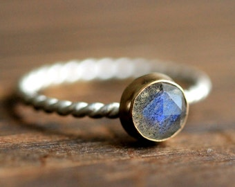 Labradorite Recycled 14K solid Gold Bezel Set Silver Stacking Ring By Pale Fish NY, R020