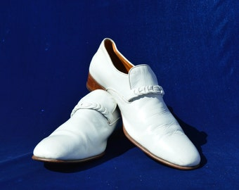 vintage 70's white disco shoes authentic men's size USA 8 1/2 leather shoes by thekaliman