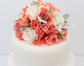 Wedding Cake Topper - Peach Echo Gerbera, Hydrangea, White Rose Wedding Cake Topper, Wedding Cake Flowers, Coral Flower Wedding Cake Topper
