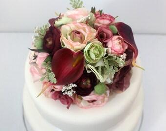 Wedding Cake Topper - Pink Rose Ranunculus, Burgundy Ranunculus, Calla Lily Silk Flower Cake Topper, Wedding Cake Flowers, Fake Flower Top