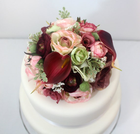 Cake Decorating Artificial Flowers : Wedding Cake Topper Pink Rose Ranunculus Burgundy