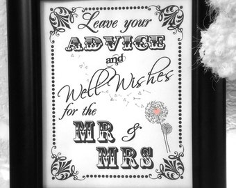 INSTANT DOWNLOAD- 8 x 10 Advice and Well Wishes for the Mr and Mrs with Dandelion---Printable PDF File