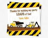 Construction Favor Tags, Dump Truck Favor Tags, Construction Birthday Party Favors, Backhoe Favor Tags, Boy Birthday Tag, Personalized