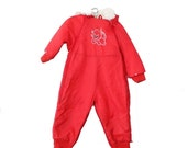 BLOWOUT 40% off sale Vintage 70s Cute Cat Winter Nylon Snowsuit - Red, Montgomery Ward, Kids 24M - boys or girls