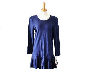 CIJ 40% off sale // Vintage RAMPAGE Blue Shirt Dress // Women M // Early 90s, tennis, Nos new old stock nwt