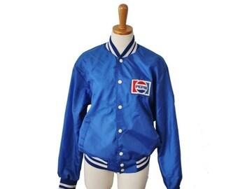 50% half off sale // Vintage 70s Blue Pepsi Snap Button Jacket - Men Women M - Swingster