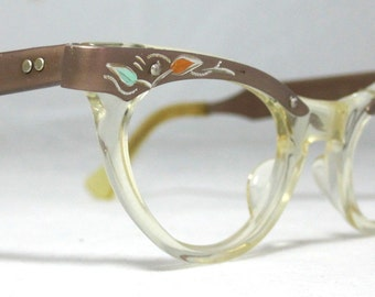 Vintage 60s Cat Eye Eyeglasses Gold and Clear with Green and Amber stones. American Optical
