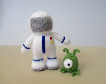 Buzz Astronaut and Zoff Alien toy knitting patterns