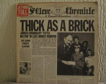 Jethro Tull Vinyl Record - Original - Thick as a brick Vinyl - Vintage Record lp in VG+ Condition.