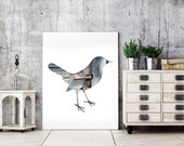 bird poster, bird silhouette in blue gray, 11x14 bird print, woodland nursery decor, whimsical animal art, blue bird decor, hipster print