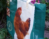 UNLINED Feed Sack Tote - Green and White Chicken