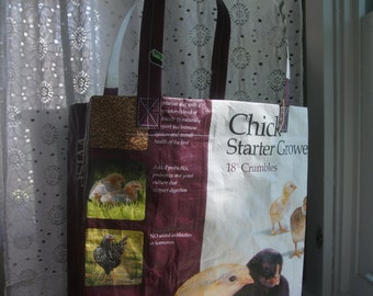 LINED Feed Sack Tote - Chicks