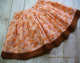Girls Fox Skirt, Girls Clothing, Toddler Skirt, Brown, Fox, Little Girls Skirt, Sizes 24MO,2T, 3T,4T,5T,6,7,8,9,10