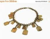 Orientalism 1940s Dangle Brass Necklace Choker Chain Link Art Deco Statement Dangles