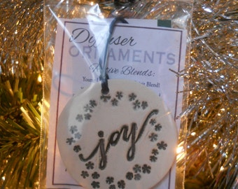 Diffuser Ornament - White Stoneware - Joy - Christmas Ornament