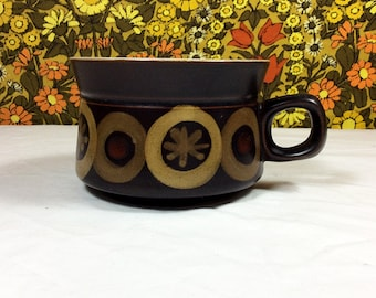 Vintage 60s 70s Denby Arabesque Stoneware Large Soup Cups / Bowls 2 Available
