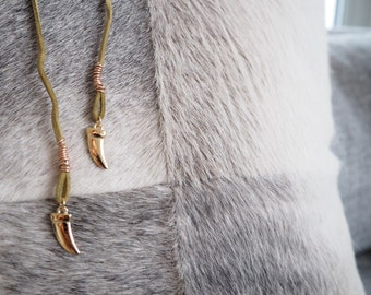 Suede Wrap Choker Necklace with Animal Tooth Charm