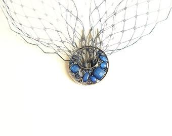 Blue Birdcage Veil- Blue Blusher- One-tier Blusher- Bandeau Veil- Bridesmaids Accessory