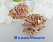 34-00-CA  2pcs Hight Quality Cabbage Rose with Golden Petals -Lilac