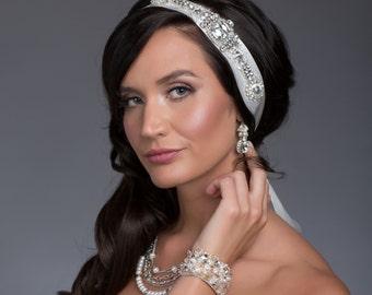 Couture Crystal Bridal Headband or Bridal Sash