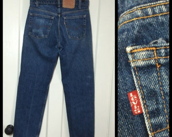 Vintage faded Levi's 505 great patina label reads 31X30, measured 30x30 Straight Leg Blue Jeans 1980's made in USA Boyfriend jeans #1255