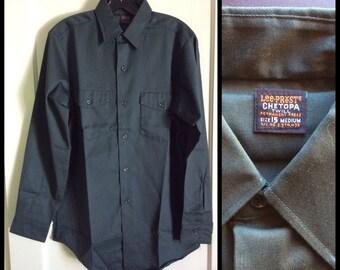 Deadstock 1960's Lee Prest Chetopa Twill Work Shirt size 15 Union Made in USA NOS Dark Green