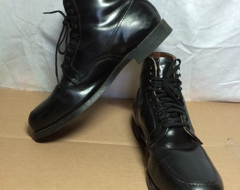 vintage 1970's Black Short steel toe Chukka ankle hook lace combat work Boots Shoes size 12 D by Sears made in USA