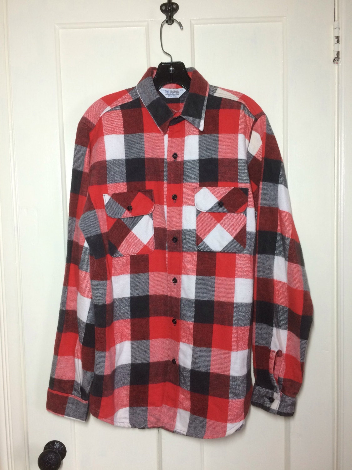 Vintage 1970 39 s 5 five brother heavy flannel buffalo plaid for Heavy plaid flannel shirt