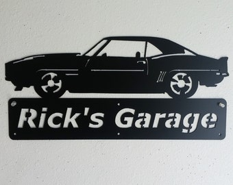 1969 Chevrolet Camaro - Personalized Metal Sign - Metal Wall Art - Garage Sign - Satin Black - Man Cave