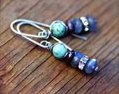 Turquoise, Garnet, and Labradorite Gemstone Earrings in Oxidized Sterling Silver