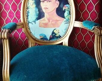 Frida Kahlo vintage art Louis chair brass tacks peacock ble velvet desk accent gold