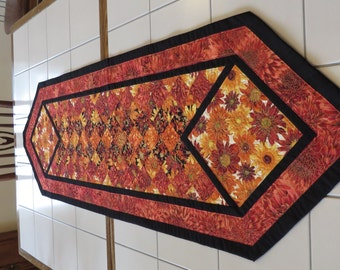 Quilted Floral Autumn Table Runner Chrysanthemums Red Orange Black Cream