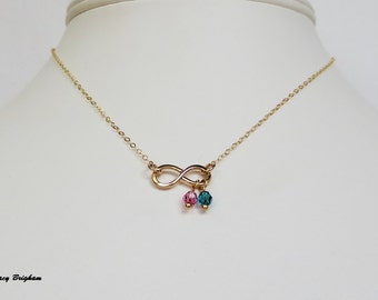 14kt Gold Filled Birthstone Infinity Pendant Necklace Bridesmaid Best Friend Sister Mother Girlfriend Wife Maid of Honor Gift Idea