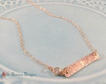 Minimalist Rose Gold Necklace - Skinny Bar Necklace - Tiny Diamond Necklace - CZ Accent - Trendy Rose Quartz - Tiny Choker Jewelry