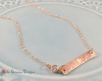 Minimalist Rose Gold Necklace - Skinny Bar Necklace - Tiny Diamond Necklace - CZ Accent - Trendy Rose Quartz - Tiny Choker Jewelry