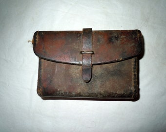 Vintage heavy leather case first aid fishing hunting storage
