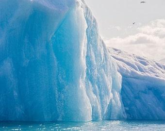 Icelandic Iceberg Photograph, Blue Landscape Art