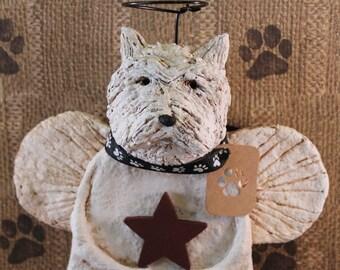 West Highland Terrier Angel,OOAK, hand-sculpted from papier mache, WESTIE ANGEL